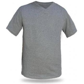 V Yaka Kısa Kollu Gri T-Shirt