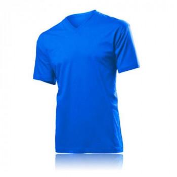V Yaka Kısa Kollu Saxmavi T-Shirt